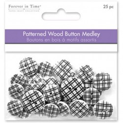Patterned Wooden Button - Black Plaid_50953