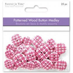 Patterned Wooden Button - Pink Plaid_50965