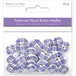 Patterned Wooden Button - Blue Plaid_50977