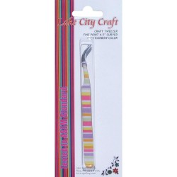 Curved Fine Point Tweezers - Rainbow_72420