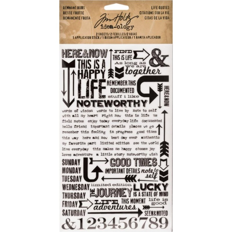Tim Holtz Remnant Rubs - Life Quotes_77928