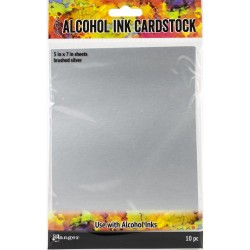 alcohol ink cardstock brushed silver_78388