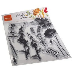 Clear stamp - Colorful Silhouette Wildflowers